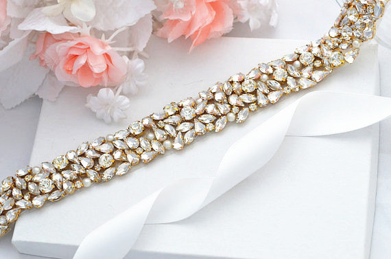 Wedding - GOLD SALE Wedding Belt, Bridal Belt, Sash Belt, Crystal Rhinestones sash belt