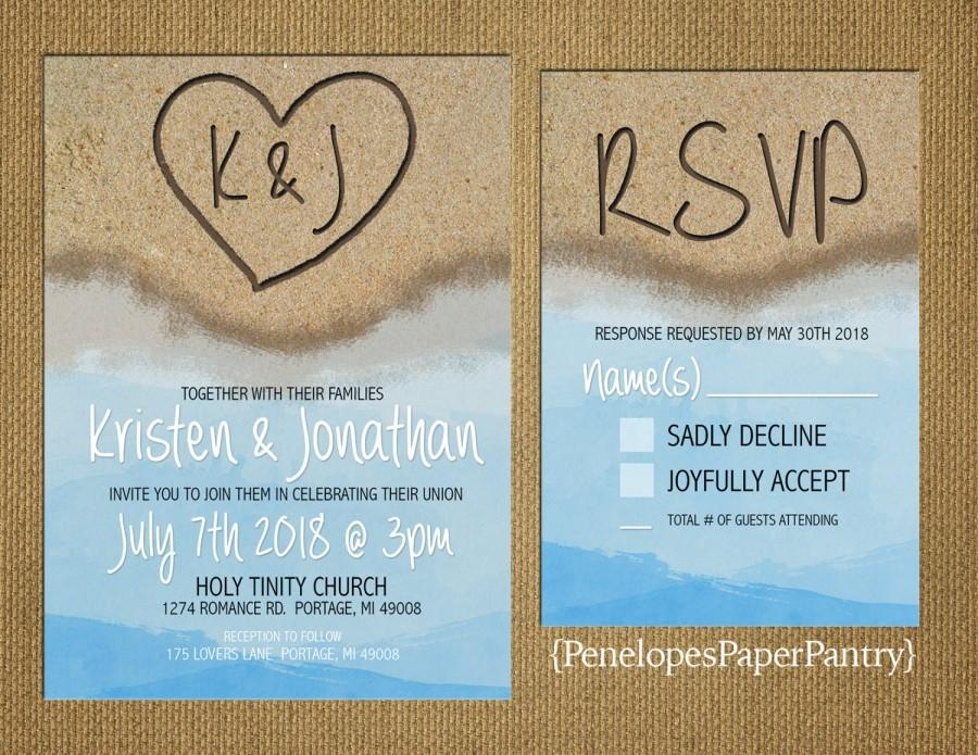 Destination Beach Wedding Invitation Heart In The Sand With Initials Sandy Blue Water Opt Rsvp Card Customizable White Envelopes