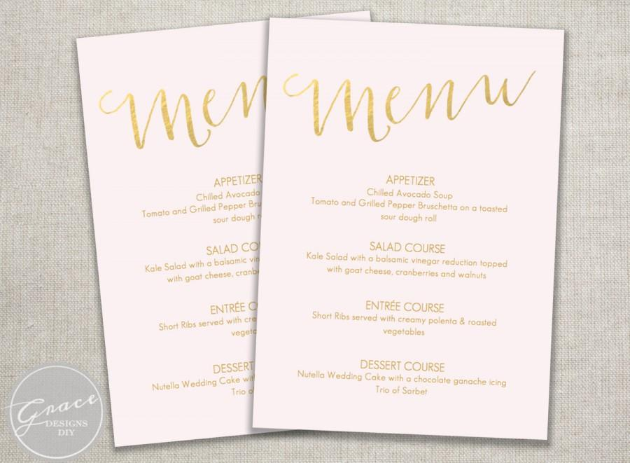 Printable menu blush pink and gold slantinstant digital download printable menu blush pink and gold slantinstant digital downloaddiy in microsoft word calligraphy style font wedding dinner party 5x7 filmwisefo