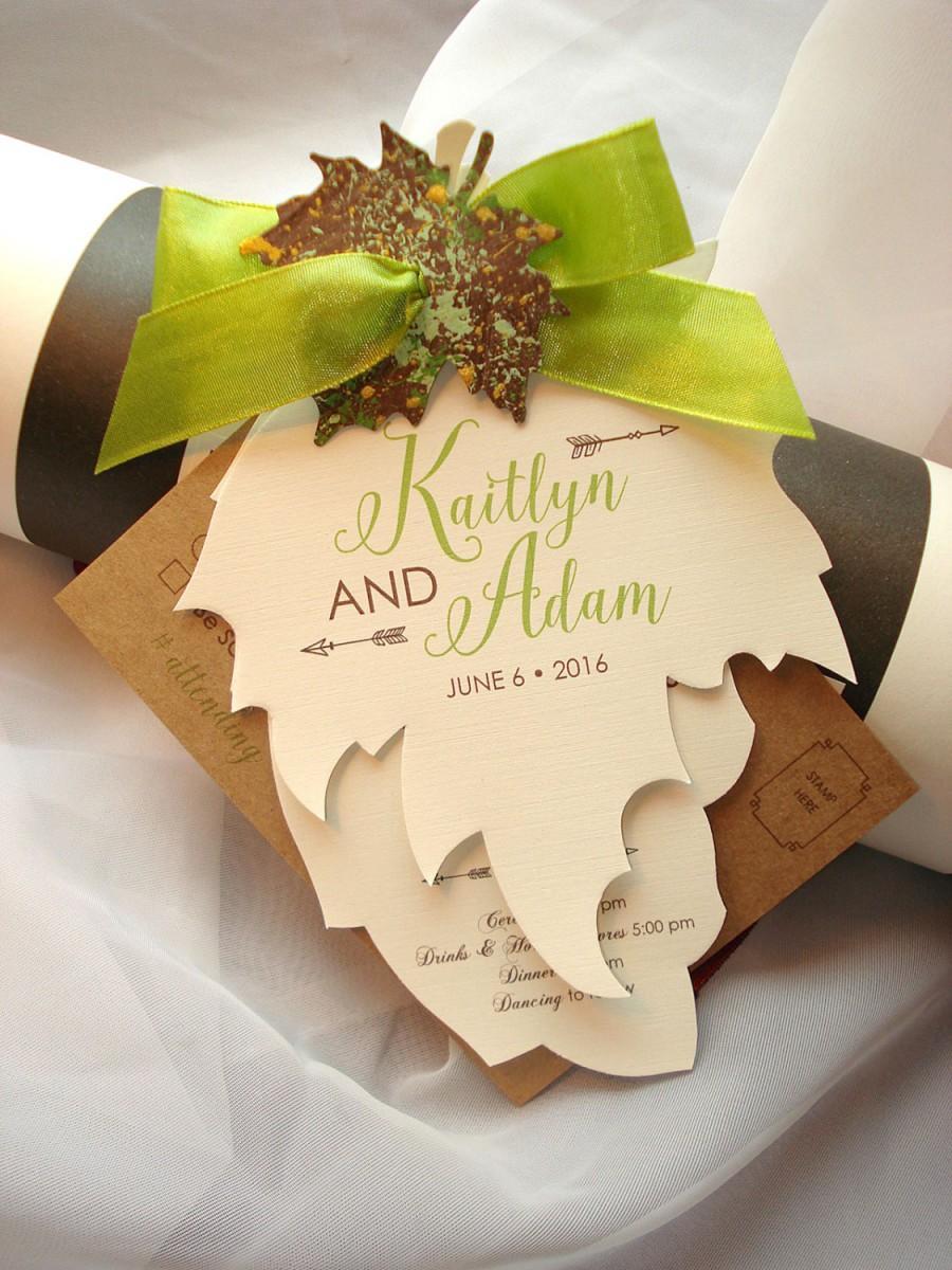 Growing In Love Hand Cut Maple And Oak Leaf Wedding Invitation Set ...