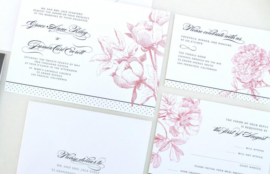 Romantic Peony Wedding Invitations Blush And Gray Invitation Peonies Elegant Wedding Invitation Band Custom Monogram Linen Invite 2548984 Weddbook