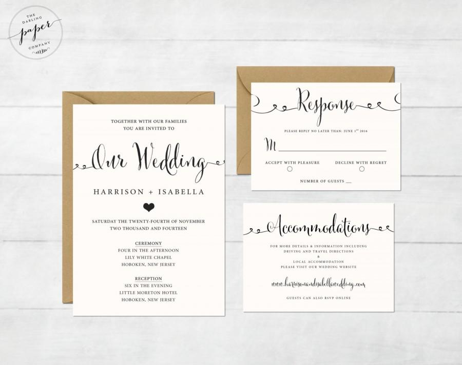 Printable Wedding Invitation Set Wedding Invitation Invitation – Wedding Invitations with Rsvp Cards
