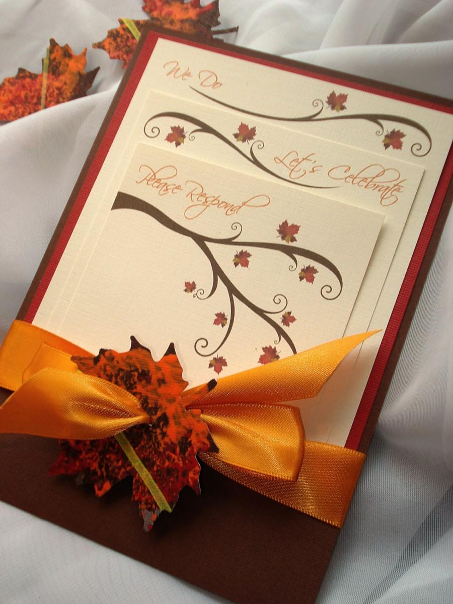 Hochzeit - SEASONS OF LOVE Autumn Pocket Wedding Invitation - Sample