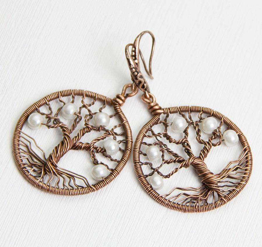 Tree Of Life Earrings 1 2 Copper Wire Wred Wired Jewelry Moderntree Rustic