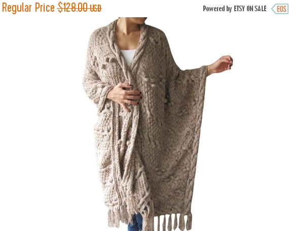 Свадьба - 20% WINTER SALE Over Size Plus Size Tweed Beige Hand Knitted Blanket Poncho by Afra