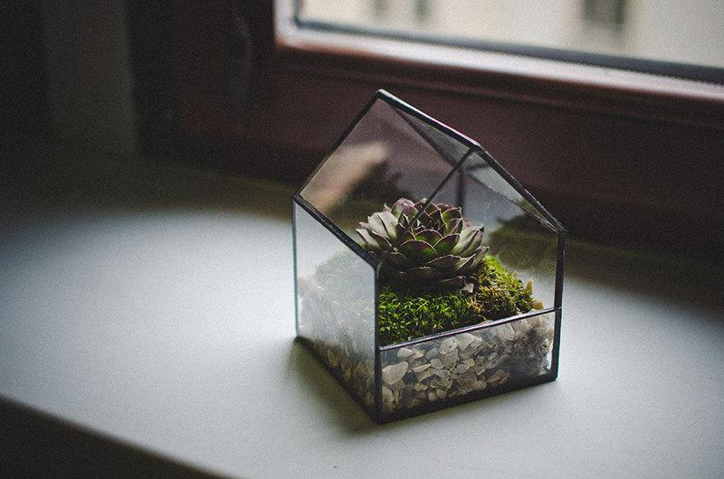 glass terrarium small house stained glass decoration