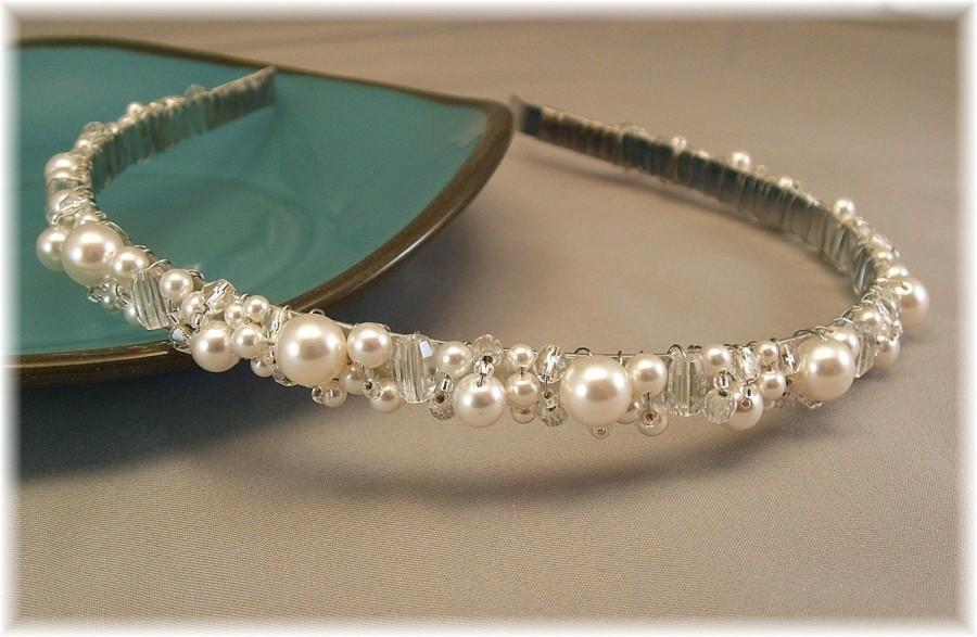 Mariage - Bridal Tiara - Wedding Hair Accessories - Head Band - Bridal White Pearl and Clear Crystal Tiara