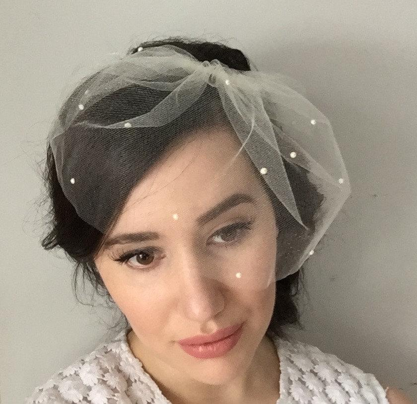 Marie Small W Pearls Allover Birdcage Veil Blusher Tulle Bridal