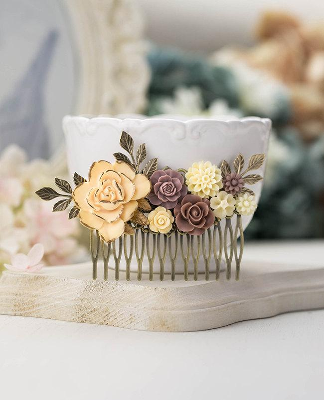 Mariage - Large Bridal Hair Comb Country Wedding Rustic Vintage Shabby Chic Style Hair Accessory Ivory Brown Mauve Flowers Antiqued Gold Leaf Comb