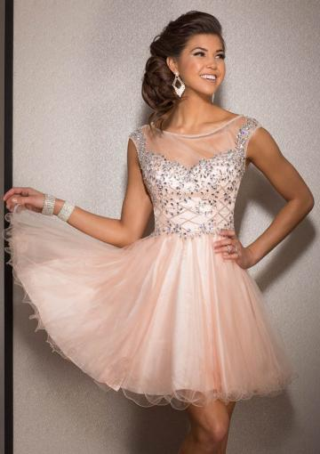 Свадьба - Sleeveless Zipper Scoop Champagne Lilac Crystals Tulle Short