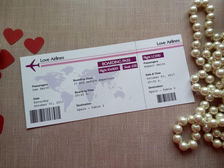 Destination Wedding Escort Card. Boarding Pass. Travel Wedding Theme ...