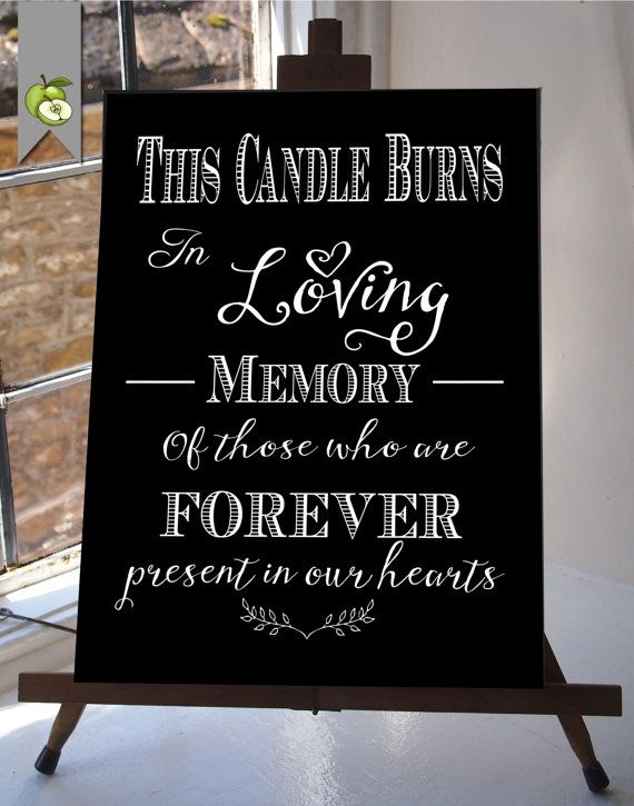 this candle burns in loving memory wedding sign memorial table, Powerpoint templates