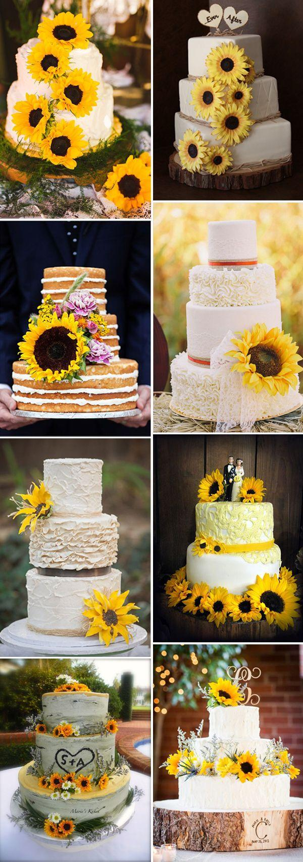 Mariage - 32 Orange & Yellow Fall Wedding Cakes With Maple Leaves , Pumpkins & Sunflowers