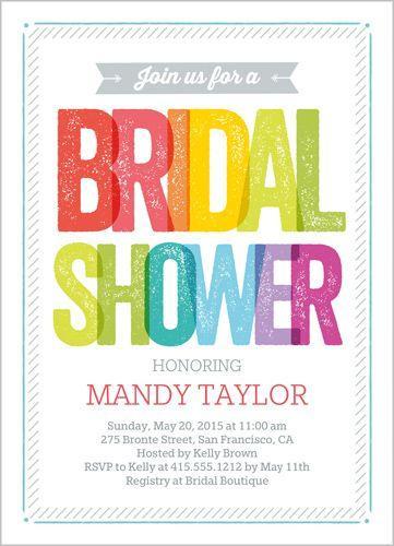 Hochzeit - Rainbow Type Bridal Shower Invitation