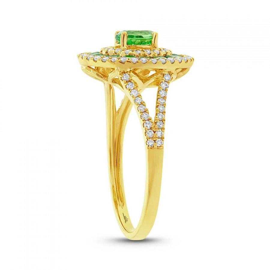 Mariage - Green Garnet & Diamond Split Shank Ring - Split Shank Engagement Rings 14k Yellow Gold - Green Garnet Jewelry - Anniversary Rings