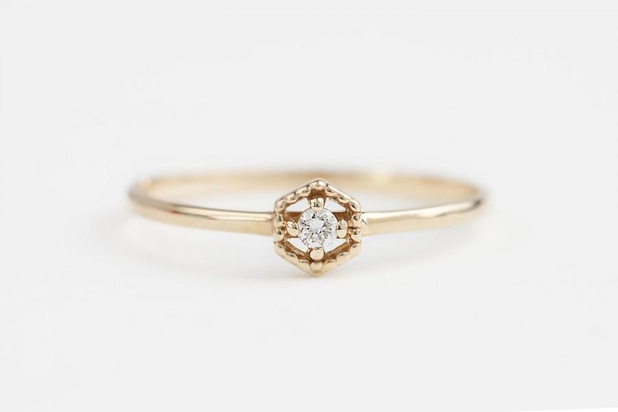 Unique Engagement Ring, Tiny Diamond Ring, Diamond Stacking Ring ...