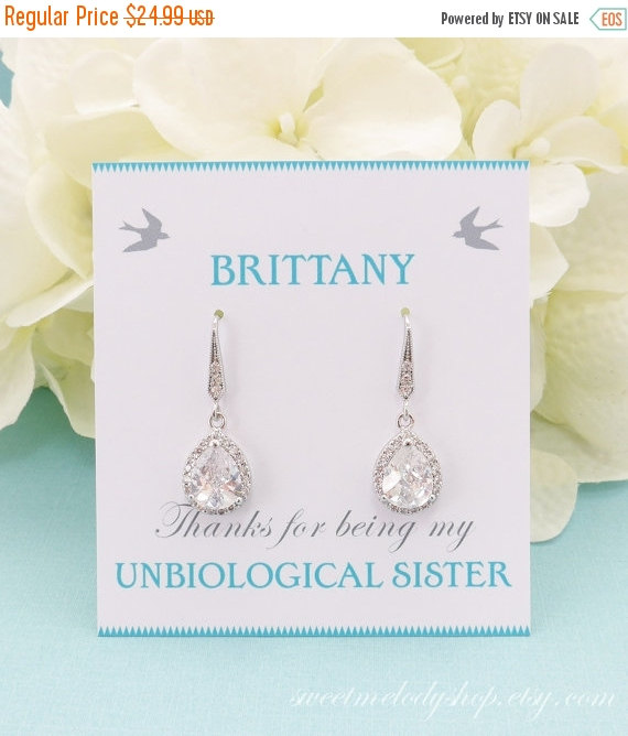 Mariage - SALE Wedding Jewelry, Personalized Bridesmaid Gift, Bridesmaid Earrings, Bridesmaid Jewelry, Crystal Bridal Teardrop Earrings, Mother of Bri