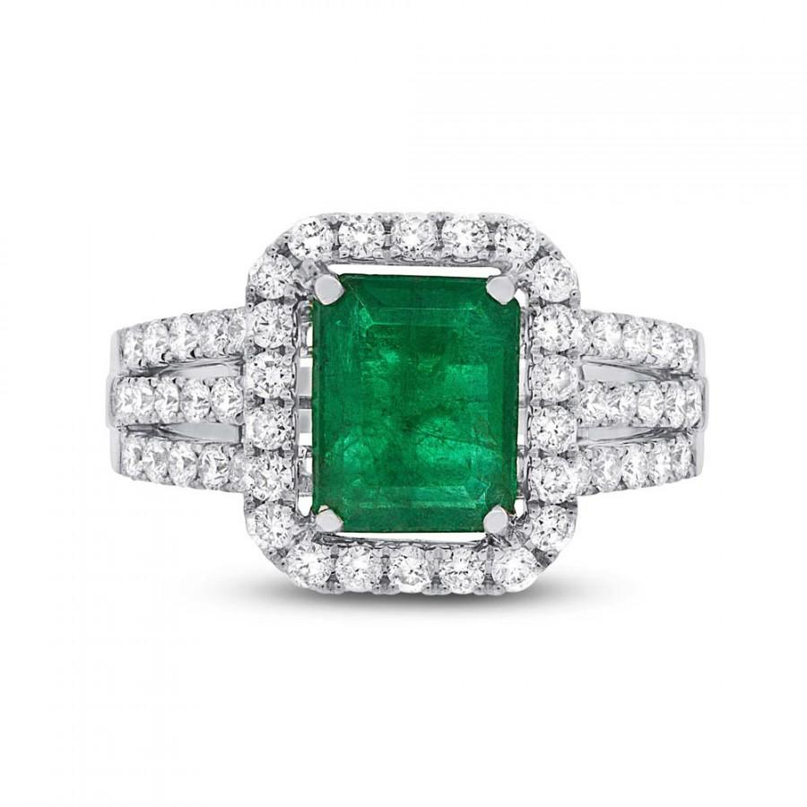 180 ct green emerald diamond halo multi row engagement for Emerald green wedding ring