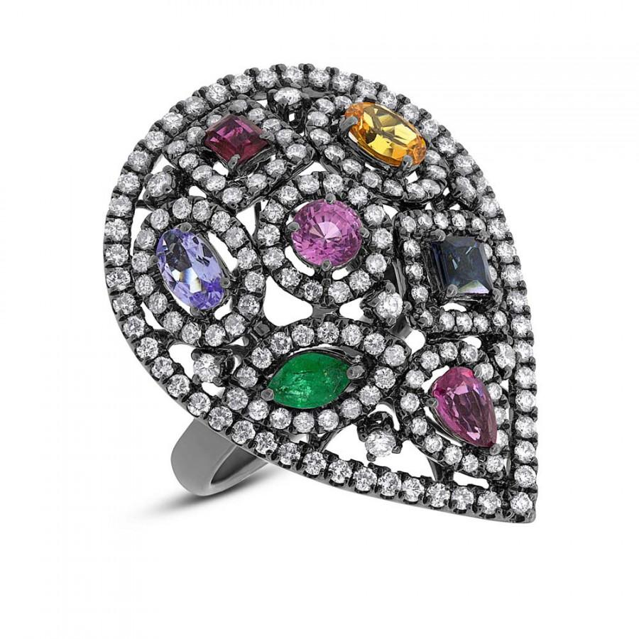 Wedding - Multi Gemstone & Diamond Ring 14k White Gold with Black Rhodium - Cocktail Rings - Anniversary Gifts for Women