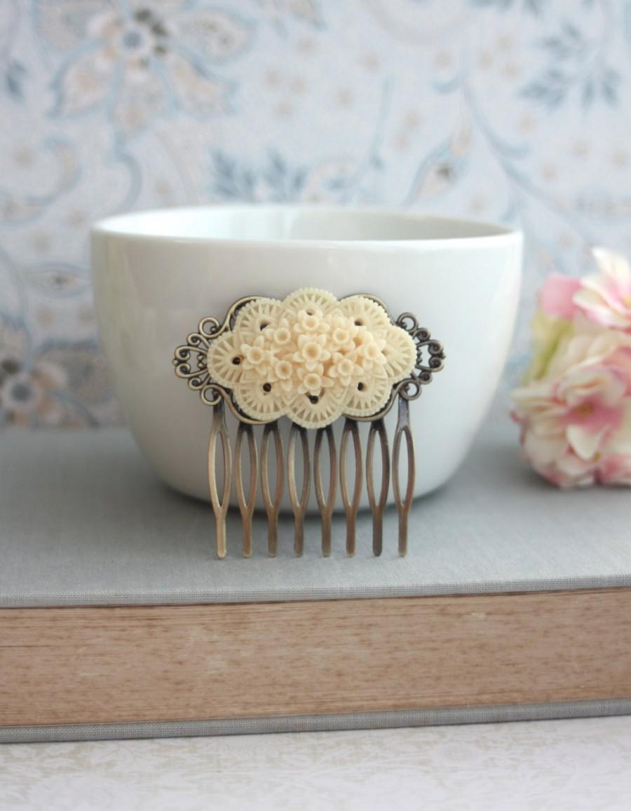 زفاف - Ivory Floral Hair Comb. Ivory Flower Comb. Rustic Vintage Wedding. Wedding Hair Bridal Comb Vintage Inspired. Bridesmaids Gift, Rustic Ivory