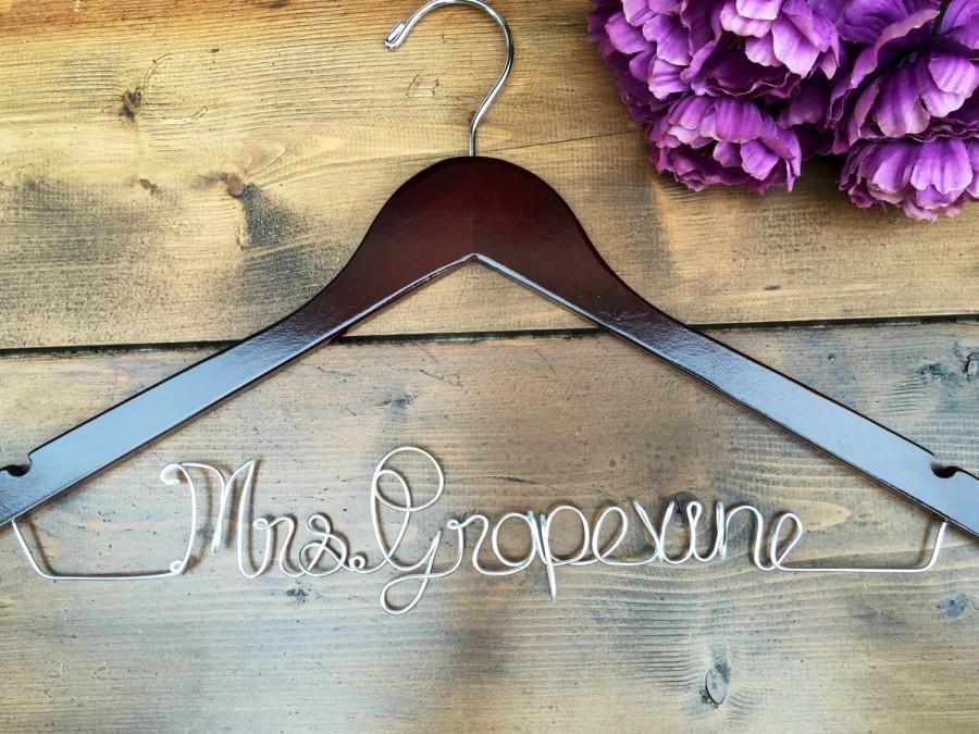 Mariage - SALE Bridesmaid Hanger, Bride Hanger, Name Hanger, Wedding Hanger, Personalized Bridal hanger, Bridal Gift, Fast Shipping,Wooden name hanger