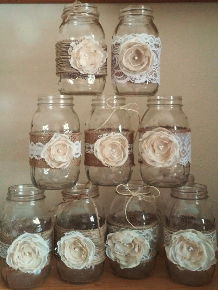 10 Shabby Chic Mason Jar Sleeves, Rustic Wedding Centerpieces ...