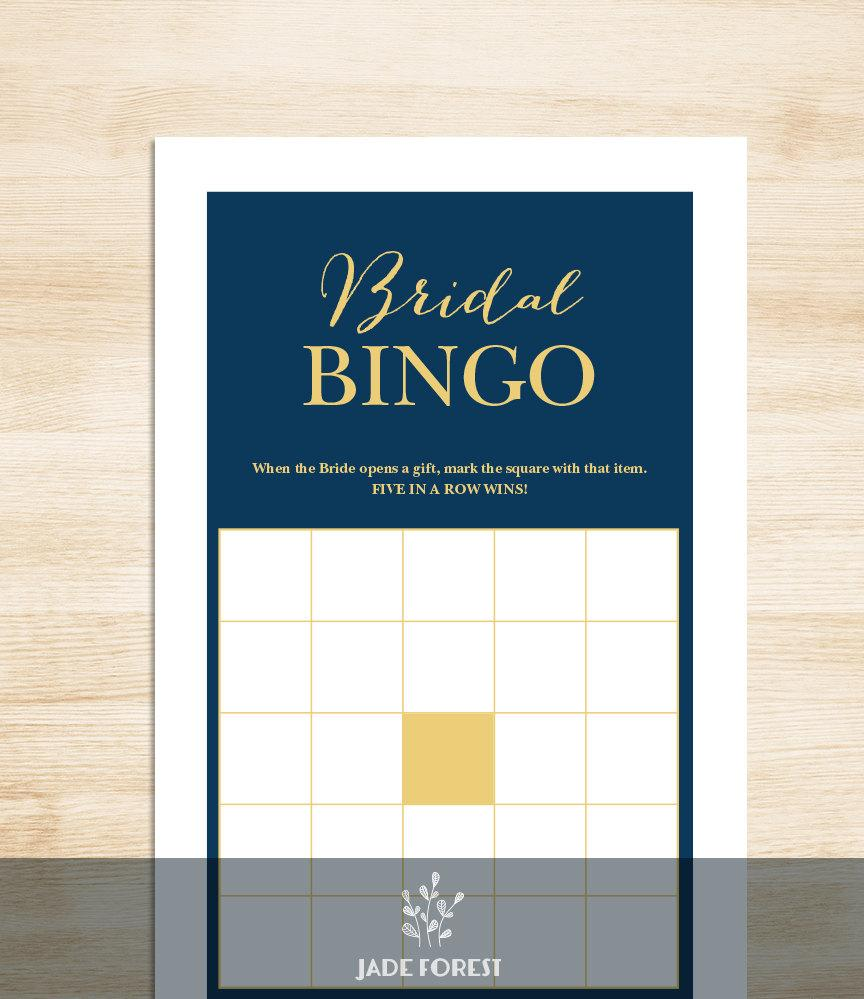 Mariage - Bridal Shower Bingo Game DIY // Gold Calligraphy on Navy Background // Bridal Bingo Printable PDF // Wedding Shower Game ▷ Instant Download