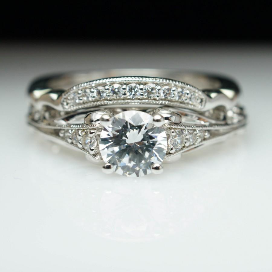 Ornate vintage style diamond engagement ring matching for Wedding band engagement ring order