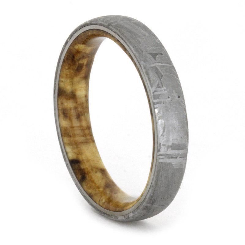Wood Ring Meteorite Wedding Band With Black Ash Burl Wedding Anniversary Ring