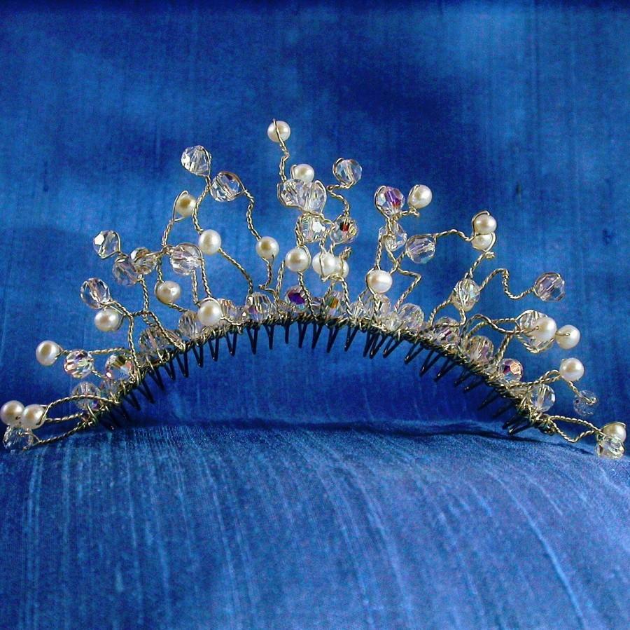 Mariage - Bridal Tiara Comb, Crystal Pearl Tiara, Silver Crystal Pearl Bridal Comb, French Twist Comb
