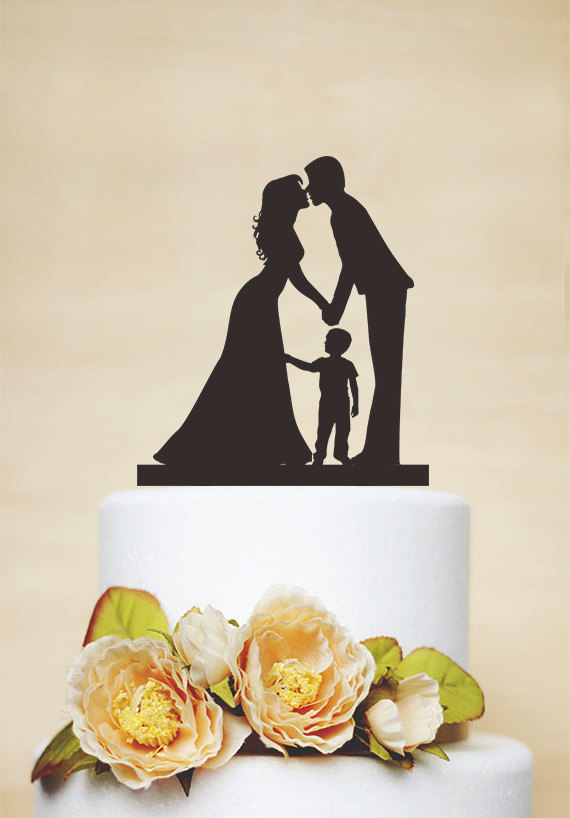 Wedding - Wedding Cake Topper,Couple Silhouette with a litter boy,Custom Children Cake Topper,Cake Decoration,Personalized Family Cake Topper P155