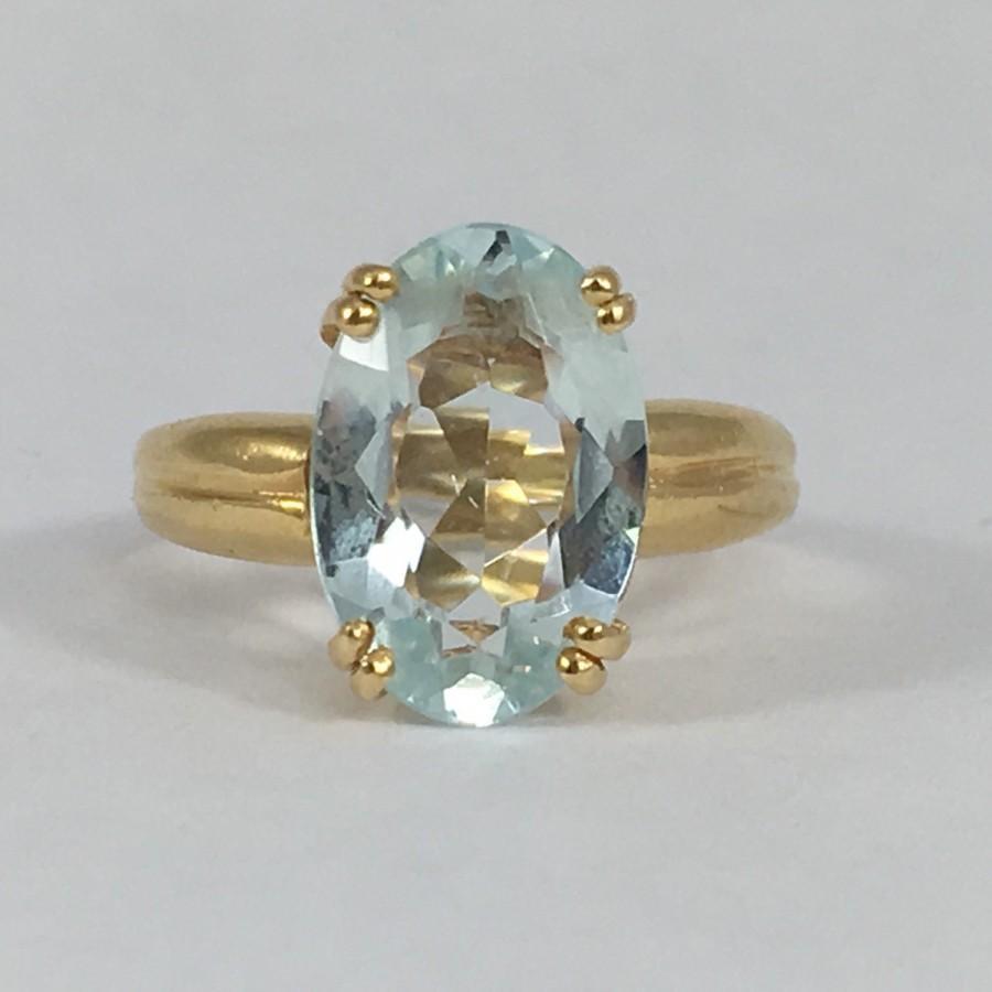 Vintage Aquamarine Ring 14k Yellow Gold Setting 3 Carat Oval Aquamarine Un