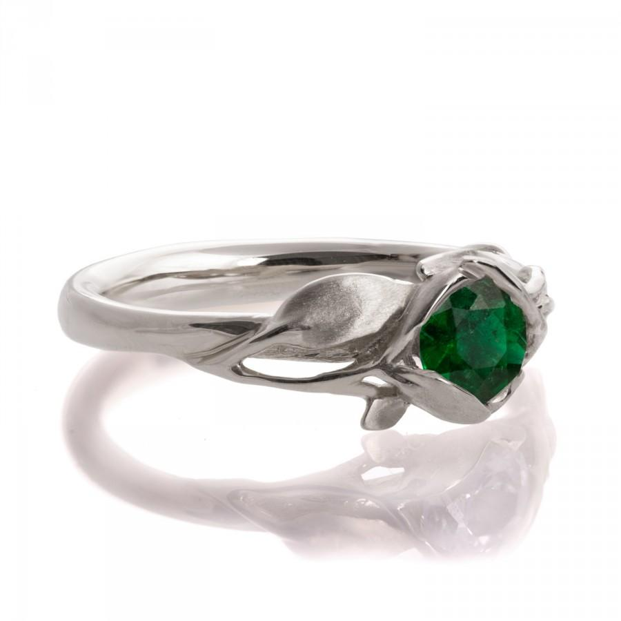 Mariage - Leaves Engagement Ring - 18K White Gold and Emerald engagement ring,engagement ring, leaf ring,Alternative Engagement Ring, May Birthstone,6