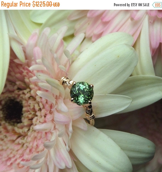 Свадьба - Summer Sale Green Tourmaline Engagement Ring, Tourmaline and Diamond Ring, 18k Rose Gold OOAK E Ring -- Ready to Ship
