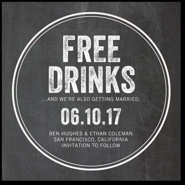 free drinks save the date coasters in charcoal or walnut 2549256