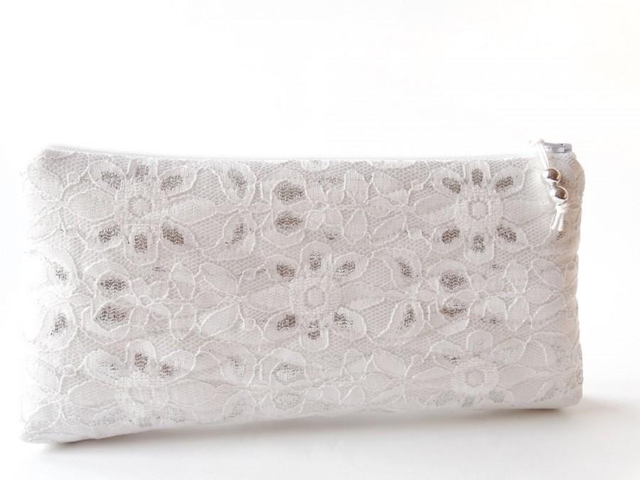 زفاف - Wedding Clutch, Ivory Silver Lace Clutch for Bride or Bridesmaid, Party Wallet, Cosmetic Purse