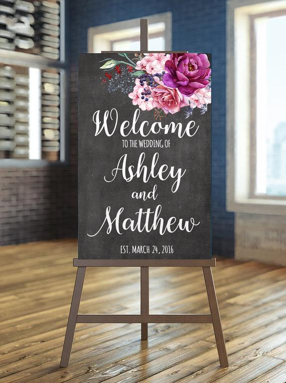 Printable Wedding Sign Welcome Fl Burgundy Purple Chalkboard