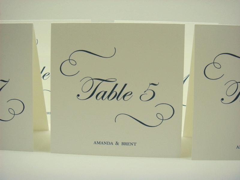 Wedding table number tent design with elegant calligraphy for Table th font color