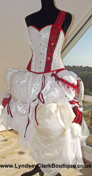 زفاف - Steampunk corset bustle wedding dress/ prom various colour options custom MADE TO ORDER/ measure