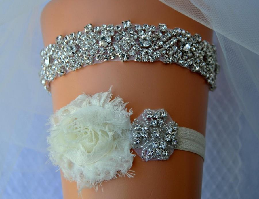 Wedding - Crystal Bridal Garter Set, Wedding Garter Set Ivory,White Ivory Shabby Chic Rhinestone Garter, Crystal Rhinestone Garter and Toss Garter Set