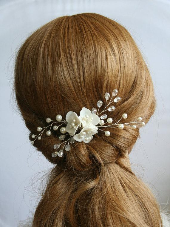 Wedding - Wedding Hair Comb Bridal Hair Comb Pearl Hair Comb Bridal Flower comb Bridal headpiece Bridal Hair accessories