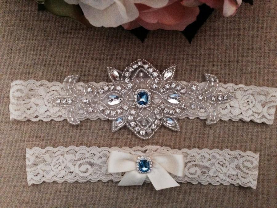 Wedding - Wedding Garter - Bridal Garter - Ivory and Light Blue Crystal Rhinestone Garter and Toss Garter Set
