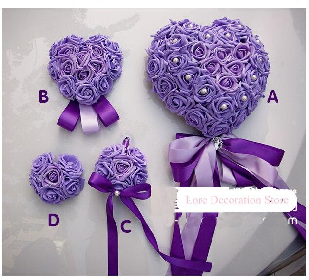 A B C D Medium Heart Artificial Pe Rose Flowers Wedding Car Decoration Supplies High Quality Pink Red Purple Blue