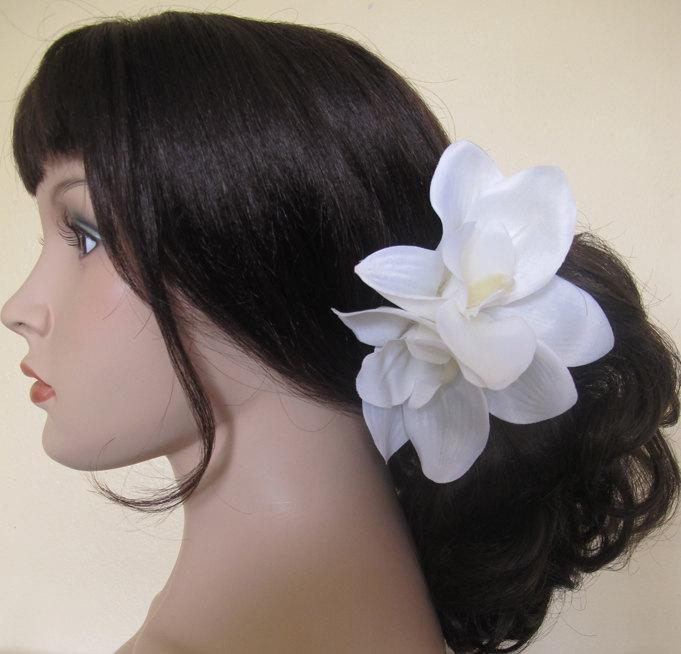 Mariage - Hawaiian  White Two Orchids hair flower clip - weddings-