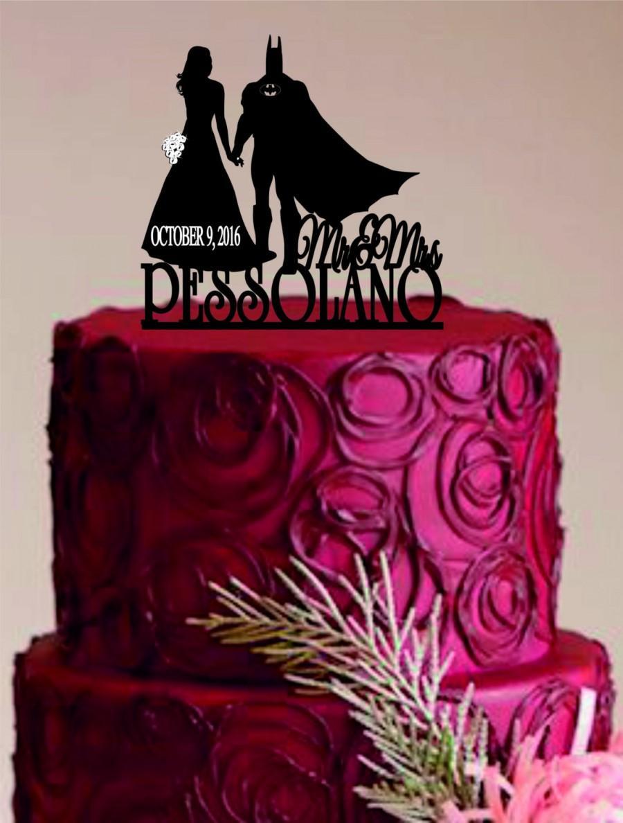 Hochzeit - Bride and Groom Wedding Cake Topper,Batman Silhouette,Mr and Mrs Wedding Cake Topper,Unique Wedding Cake Topper, Custom Wedding Cake Topper