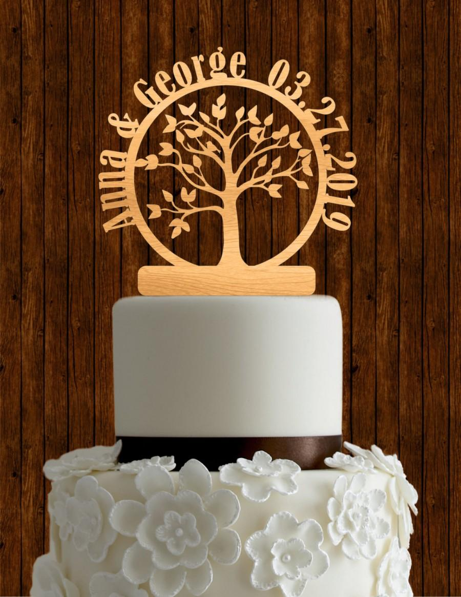 Hochzeit - Tree of life wedding cake topper / custom cake topper / wood cake topper / unique cake topper / handmade cake topper / rustic cake topper