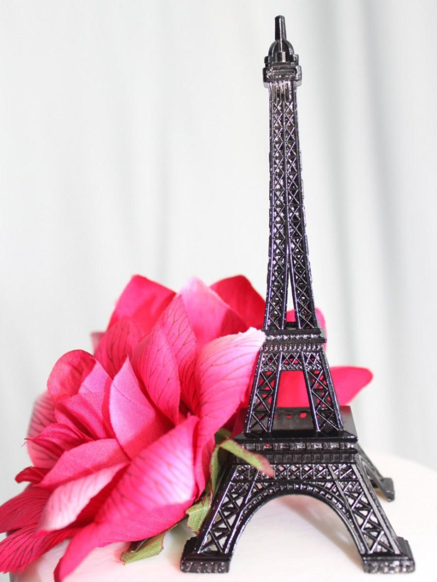 "Свадьба - 6"" Black Paris Eiffel Tower Cake Topper"
