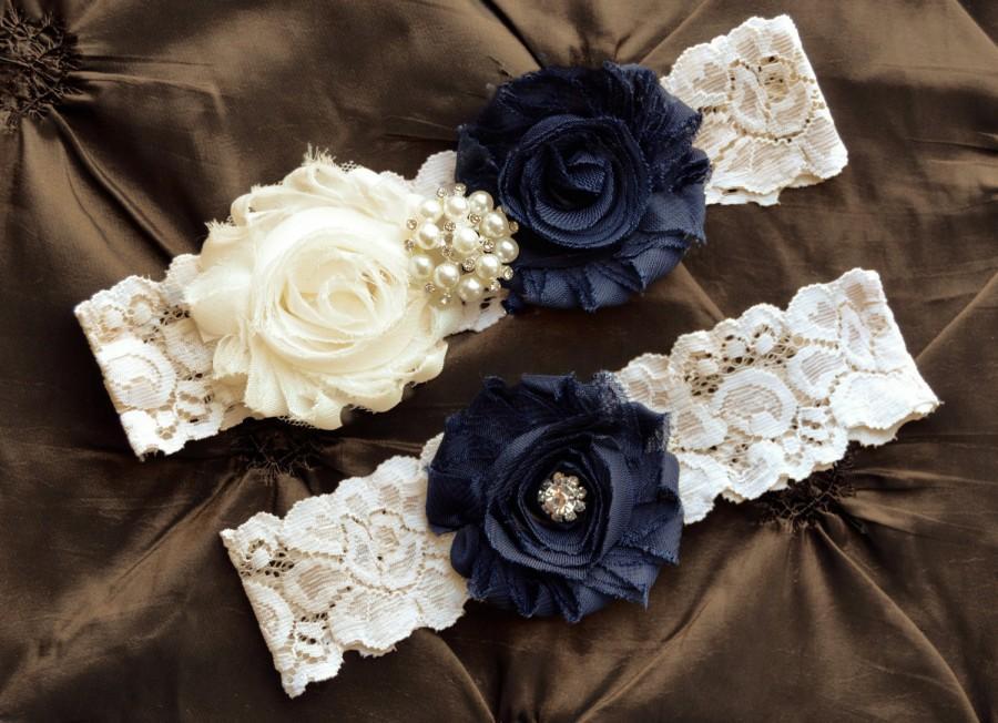 Свадьба - Wedding Garter Set, Bridal Garter Set, Garter, Country Shabby Chic, Shabby Navy Wedding Garter Belt, Navy Garter Set, Grace Style -G 50575