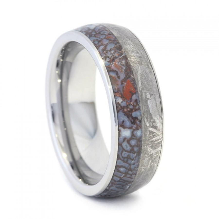 Mariage - Titanium Ring, Dinosaur Bone and Meteorite Band