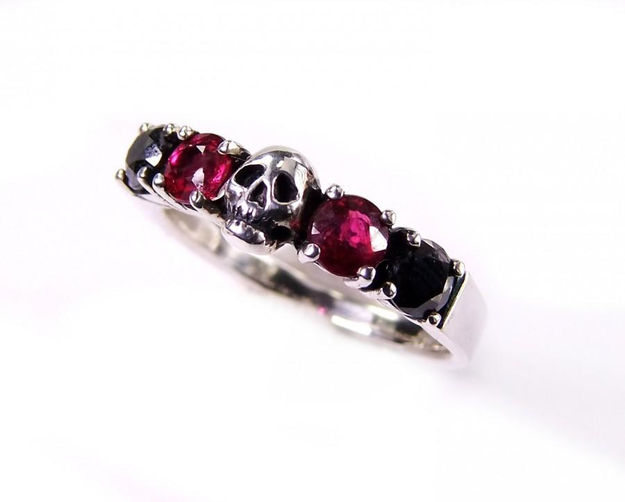 Skull Wedding Ring Black Diamond And Red Ruby Sterling Engagement Goth Psychobilly Band Set Jewel All Sizes